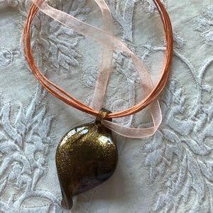 Hand blown glass pendant necklace